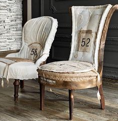 Repurposed Furniture, Custom Furniture, Nursing Chair, Antique Chairs, Deconstruction, Wingback Chair, Slipcovers, Old School, Euro