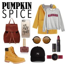 """Pumpkin Spice and All Things Nice"" by ameliekaced on Polyvore featuring Timberland, Mansur Gavriel, Casetify, New Black, Lipstick Queen, Ciaté and Abbott Lyon"