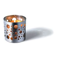 IKEA - VACKERT, Decoration for candle in glass, The shiny metal decorative holder has a pattern that creates an exciting accent in the room.The decoration can also be used with tealights.