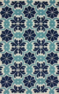 Rugs USA Fergana Royal Tiles Trellis Blue Rug