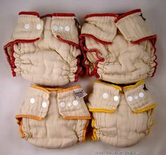 Workhorse Organic Diapers - Green Mountain Diapers.  For under Thirsties and Flip Covers. Small yellow and medium red, no closures for better fit (will need snappies to close, though). $9.95