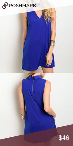 """New blue choker dress . Brand new from my boutique  . Model is wearing the exact product  . Fabric content: 100% polyester                Any questions? Don't hesitate to ask  ✨ Use the """"buy now"""" or """"add to bundle"""" feature to purchase ✨ Very J Dresses Mini"""