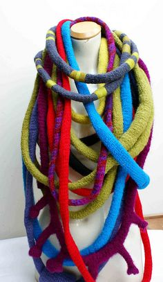 "Hand crochet in 100% wool, and felted. Bright and bold neckwear - by ""grrl+dog"""
