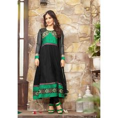 #NehaSharma Black & Green Colour #Anarakali Suit