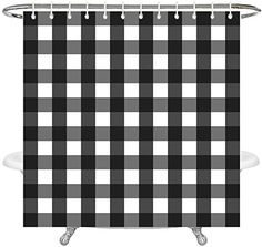 Wencal Buffalo Check Plaid Shower Curtain for Bathroom with Hooks Waterproof - Inches Plaid Shower Curtain, Shower Curtain Sets, Buffalo Check Christmas Decor, Bathroom Curtains, Hooks, Christmas Decorations, Bathroom Window Curtains, Haken, Christmas Decor