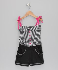 This '50s inspired romper had us at love at first stripe with its easy-on silhouette, faux buttons and peppy pattern.100% cottonMachine wash; tumble dryMade in India