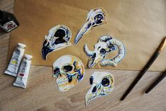 Animal Skulls Shiny Stickers/Set of Sticker/ Stocking Stuffer/Colorfoul skulls/Scrapbooking/Stationery Animal Skulls, Cello, Laptop Stickers, Stocking Stuffers, My Etsy Shop, Stationery, Scrapbook, Shapes, Unique