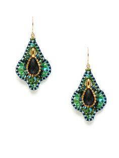 Green Tourmaline & Multicolor Miyuki Bead Earrings