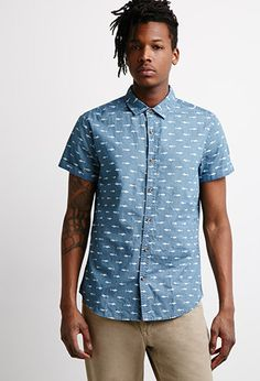 Shark Print Chambray Shirt | 21 MEN | #f21branded