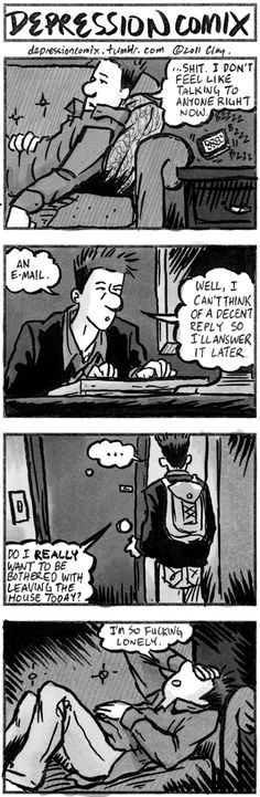 """How I sometimes feel. Add """"empty"""" to the last panel."""