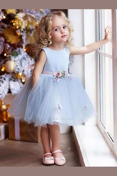 """The dress is """"made-to-order"""". Need to alter contact us confirm or use our fully … The dress is """"made-to-order"""". Need to alter contact us confirm or use our fully …,Blumenkinder The dress is """"made-to-order"""". Cute Flower Girl Dresses, Girls Blue Dress, Tulle Flower Girl, Little Girl Dresses, Flower Belt, Baby Flower, Vintage Baby Dresses, Tulle Flowers, Blue Wedding Dresses"""