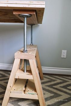 Ana White | Build a Modern Indsutrial Adjustable Sawhorse Desk to Coffee Table | Free and Easy DIY Project and Furniture Plans