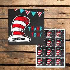 Dr. Seuss Cat in the Hat Chalkboard Thank You Tags Instant Download | Printable Sweetness