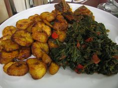 Spinach and plantains