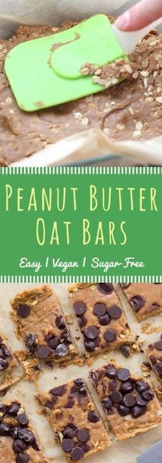 Easy vegan peanut butter oat bar recipe. No-bake, delicious, and refined sugar free! Perfect for breakfast, or even a midnight snack ;)