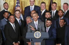 President Barack Obama, center, speaks as he welcomes the Kansas City Royals baseball team during a ceremony in the East Room of the White House in ... (em)
