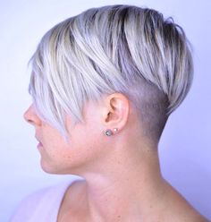 Undercut blonde pixie by Caitlin Ford
