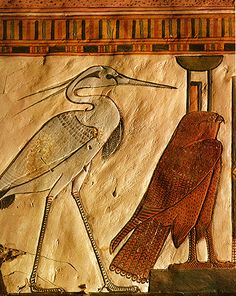 In Nefertari's tomb, resurrection glyphs live in comfortable company with death-glyphs. The Egyptian phoenix-bird, immortally rising from its own ashes, is depicted as a heron on the banks of the Nile, with an equally noble bird, the falcon, to its right.