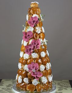 Orchid inspired wedding Croquembouche