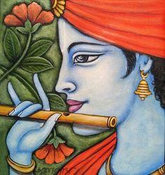 Kerala Mural Painting, Indian Art Paintings, Diwali Painting, Awesome Paintings, Krishna Painting, Krishna Art, Lord Krishna, Bal Krishna, Small Canvas Paintings