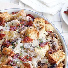 Mushroom, Bacon, and Swiss Strata Recipe   MyRecipes.com Mobile