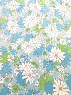 sale retro mod flower power blue white vintage bed sheet standard full flat by sassycotton