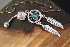 Teal Dream Catcher Belly Button Jewelry by MidnightsMojo on Etsy, $19.00