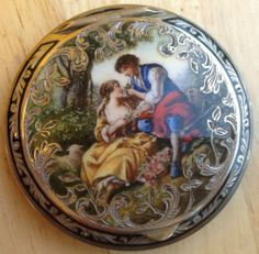 sterling silver enamel & hand painted compact antique vintage