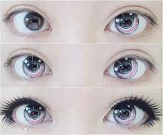 ^ v ^ - Make Up Tips - Cute anime eyes. ^ v ^ lenses - Anime Eye Makeup, Gyaru Makeup, Kawaii Makeup, Cute Makeup, Makeup Art, Makeup Ideas, Lolita Makeup, Doll Eye Makeup, Makeup Drawing