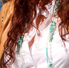 Necklace freshwater pearl turquoise long beaded by ThePillowBook, $52.00 #jewelry #accessories