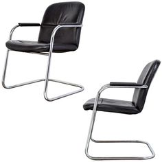 French Modern Pair of Leather and Chrome Armchairs