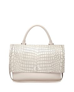 V29AS Givenchy Shark Medium Stamped Crocodile Bag, Off White