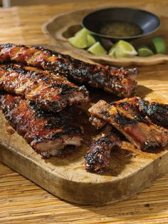 Ginger, Garlic, and Honey Grilled Baby Back Ribs from Planet Barbecue!: 309 Recipes, 60 Countries by Steven Raichlen A Food, Good Food, Food And Drink, Yummy Food, Rib Recipes, Cooking Recipes, Grilled Recipes, Smoker Recipes, Barbecue Recipes