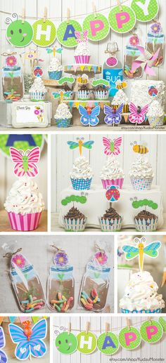 Garden Bug Spring Party printable decor kit DIY instant download for girl's birthday party or cute girl baby shower. Kit includes A-Z banner, cupcake decor kit, party favors, and more by KudzuMonster