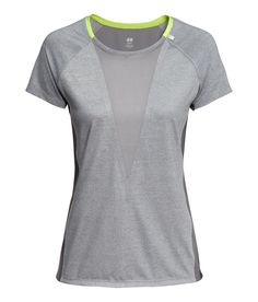 Fitted gray running top with fast-drying fabric, mesh front panel, and reflective design. | H&M Sport
