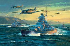 21 de Mayo de 1941, el Bismarck y el Prinz Eugen parten de Noruega en busca de su destino escoltados por Bf-109 y Bf-110, cortesía de Anthony Saunders. Más en www.elgrancapitan.org/foro