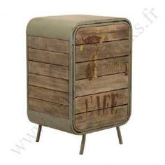 meuble de rangement vintage industriel metal vieux bois depot des docks