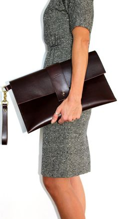 Leather clutch brown large/oversized handmade by EcoCollectiveAus