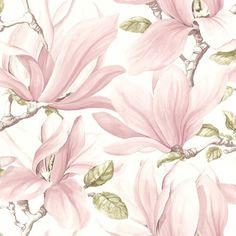 Tapeten är hämtad från kollektionen Nature. Mönstret föreställer trädgrenar med vackra stora Rosa blommor på en Vit botten.