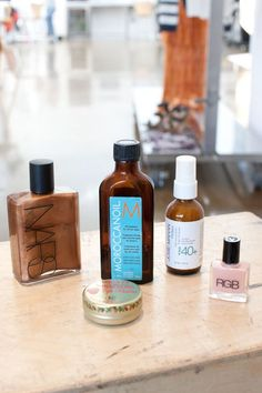 Nars Body Glow: -     Moroccanoil: -      Josie Maran Protect 40+ SPF: -      RGB nailpolish in Punch: -      Rosebud Perfume Co. Strawberry Lip Balm:
