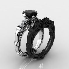 black wedding rings Art Masters Caravaggio Black and White Gold Ct Princess Black and White Diamond Engagement Ring Wedding Band Set Diamond Wedding Rings, Black Rings, Wedding White, Diamond Rings, Sapphire Diamond, White Sapphire, Solitaire Rings, Solitaire Diamond, Anillo De Compromiso
