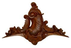 French Antique Rococo Hand Carved Walnut Wood Pediment - Shell Louis XV Style - Furniture Salvage Wood - Upcycled DIY