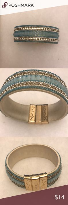 Sky Blue Beaded Bracelet Magnetic clasp. Shows some wear on clasp. Only worn a few times. Jewelry Bracelets
