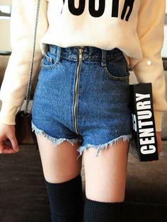 High Waist Zipper Dark Blue Worn Out Straight Leg Short Jeans