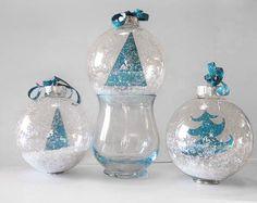 Art Glitter Tree Ornaments diy & 29 other glass ornament projects Clear Christmas Ornaments, Aqua Christmas, Clear Glass Ornaments, Christmas Ornament Crafts, Christmas Decorations, Diy Ornaments, Ball Ornaments, Christmas Ideas, Candle Decorations