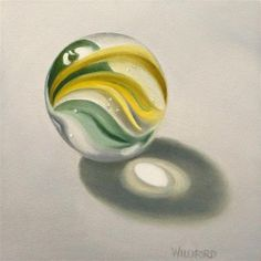 """Marble No. - Original Fine Art for Sale - © Kathleen Williford Marble Ball, Reflection Art, Object Drawing, Marble Painting, Retro Images, Color Pencil Art, Glass Marbles, Technical Drawing, Art Portfolio"