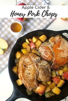 These Apple Cider & Honey Pork Chops are the perfect way to celebrate the fall season. Juicy pork chops are cooked with fresh apples, apple cider, and onions to create a delicious jammy sauce that goes perfectly with the pork. #SeasonAndServeBlog #FallRecipe #PorkChopRecipe #PorkRecipe Honey Pork Chops, Juicy Pork Chops, Apple Pork Chops, Apple Cider And Honey, Pork Chop Seasoning, Cook N, Fall Dinner, Fresh Apples, Pork Chop Recipes