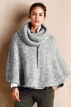 Women's Cowlneck Poncho from Lands' End Canvas