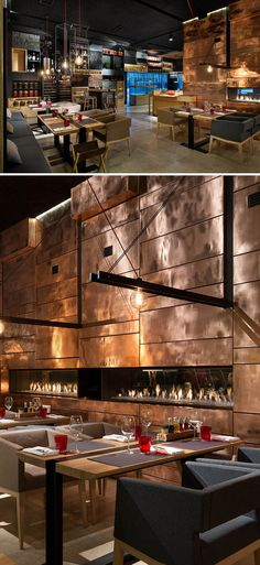 Yod Design Lab - Food & Forest Restaurant, Ukraine, 2015. Copper wall, raw material, smooth lights.