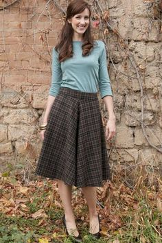 No Ordinary Plaid Skirt  with Ultimate Three Quarter Top-- SweetSaltClothing